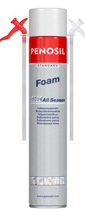 Изоляционная пена PENOSIL Standard Foam All Season с трубочкой-аппликатором для работ в различных погодных условиях.