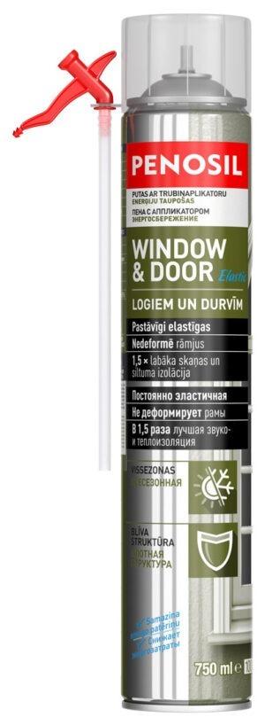 PENOSIL Window & Door Elastic Elastīgās logu un durvju montāžas putas ar salmiņaplikatoru