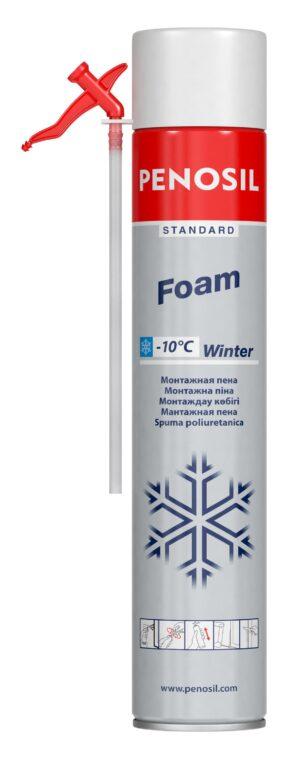 Изоляционная пена PENOSIL Standard Foam Winter с трубочкой-аппликатором для работ в зимнее время.